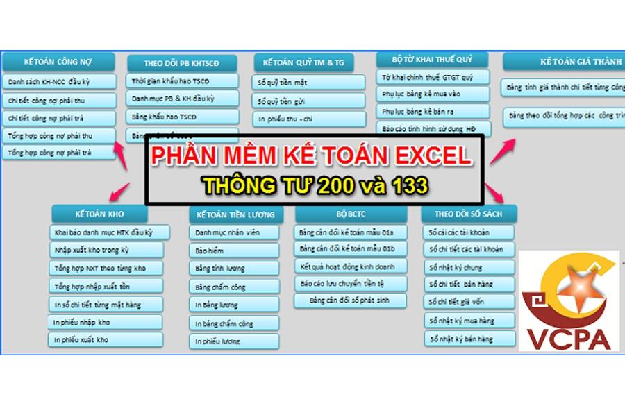 Phần mềm kế toán Excel theo thông tư 200 và 133